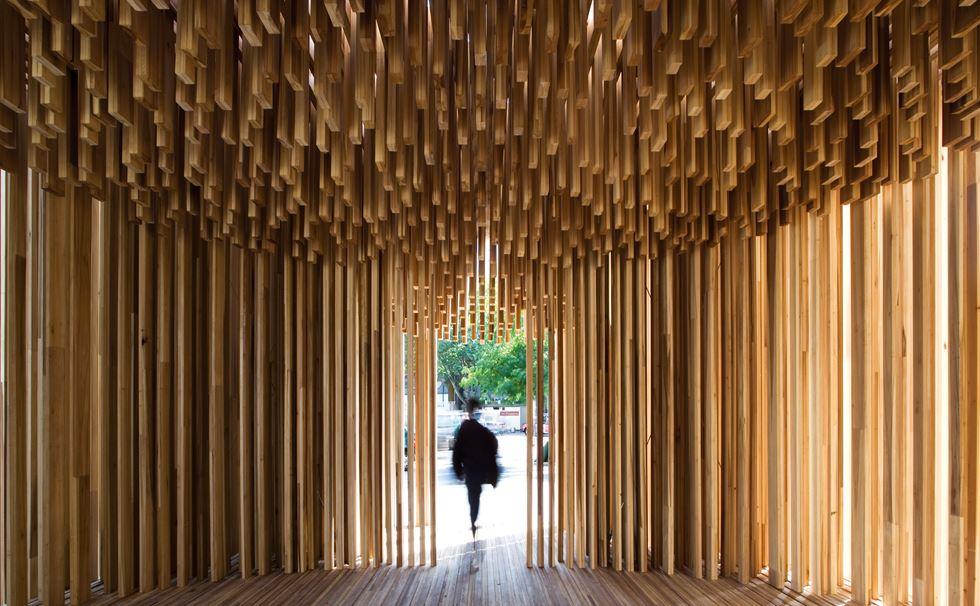 This is an Image of the Sclera Pavilion by Adjaye Associates. Image credit is Leonardo Finotti